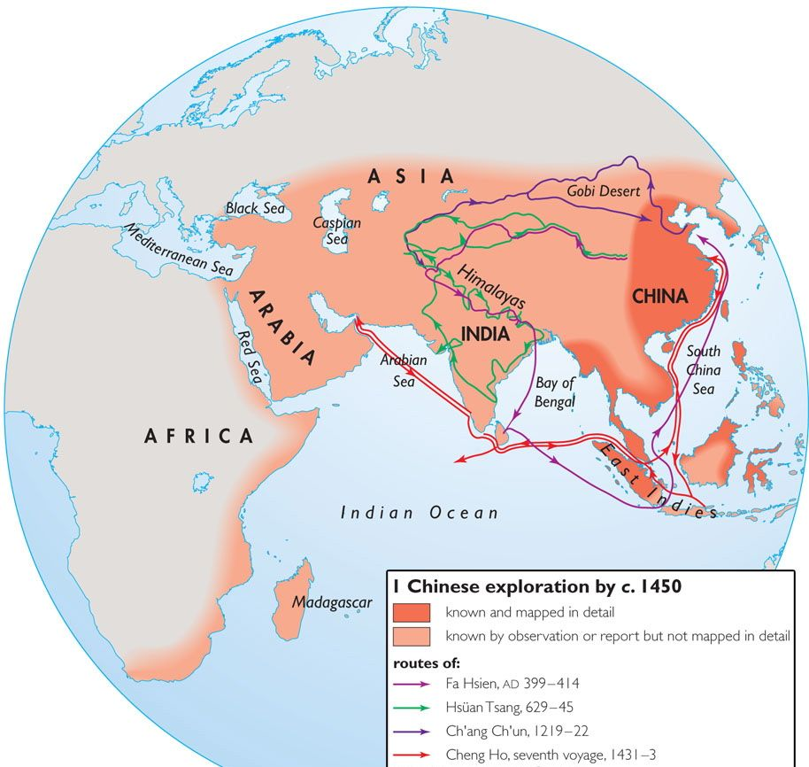 Map depicting Chinese exploration and routes taken around 1450 AD