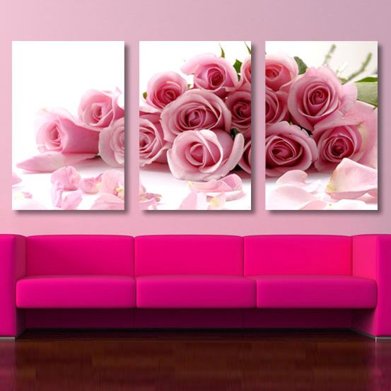 3 piece decorative canvas. NOT all pink. | Living Spaces | Pinterest ...