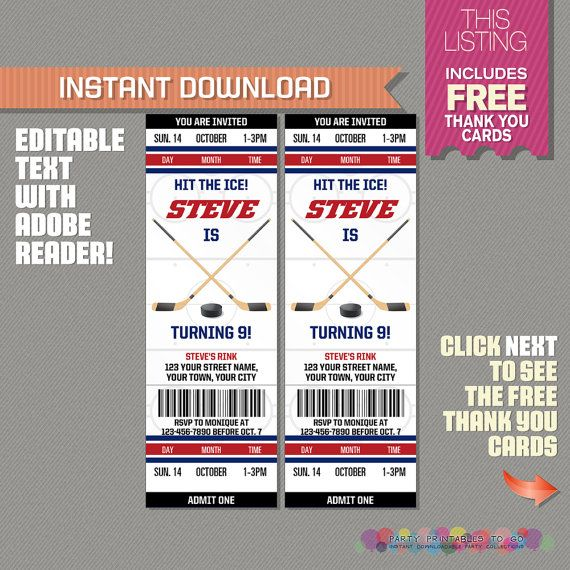 Ice Hockey Ticket Invitation With Free Thank You Card Birthday Party Edit And Print Adobe Reader