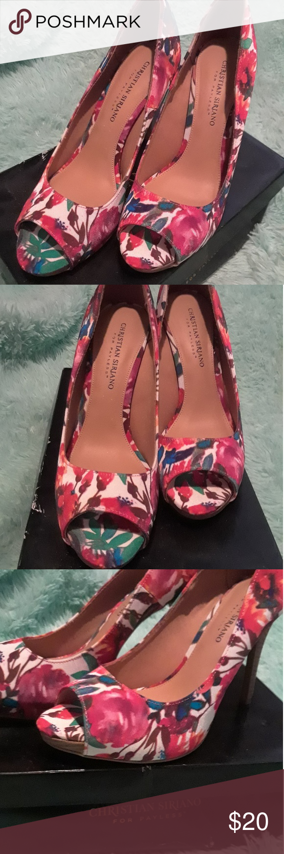 4514f70c055 Christian Siriano for Payless Floral Heels Open toe heels. Floral ...