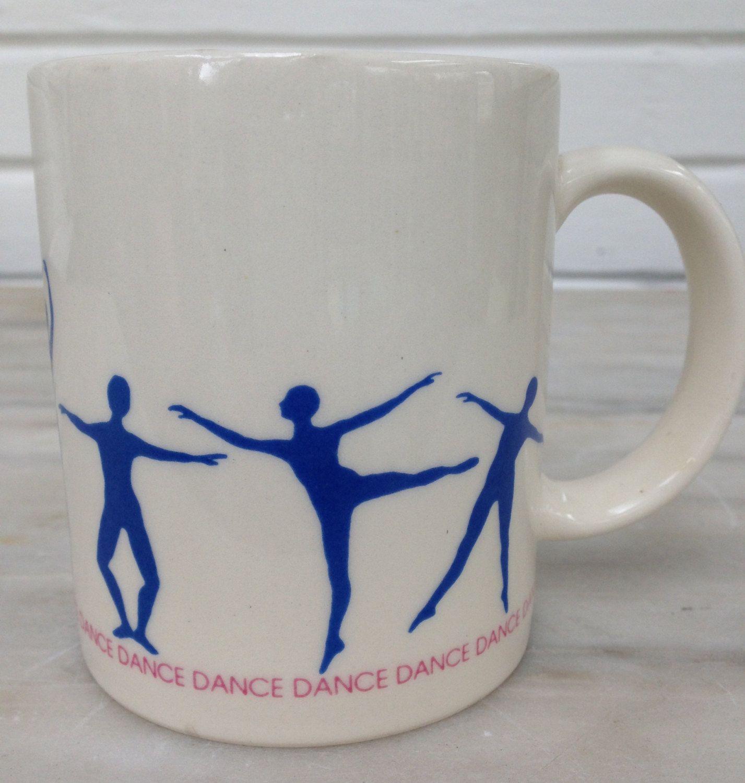 vintage DANCE mug ceramic coffee blue figures DANCEDANCEDANCE.... by MotherMuse on Etsy