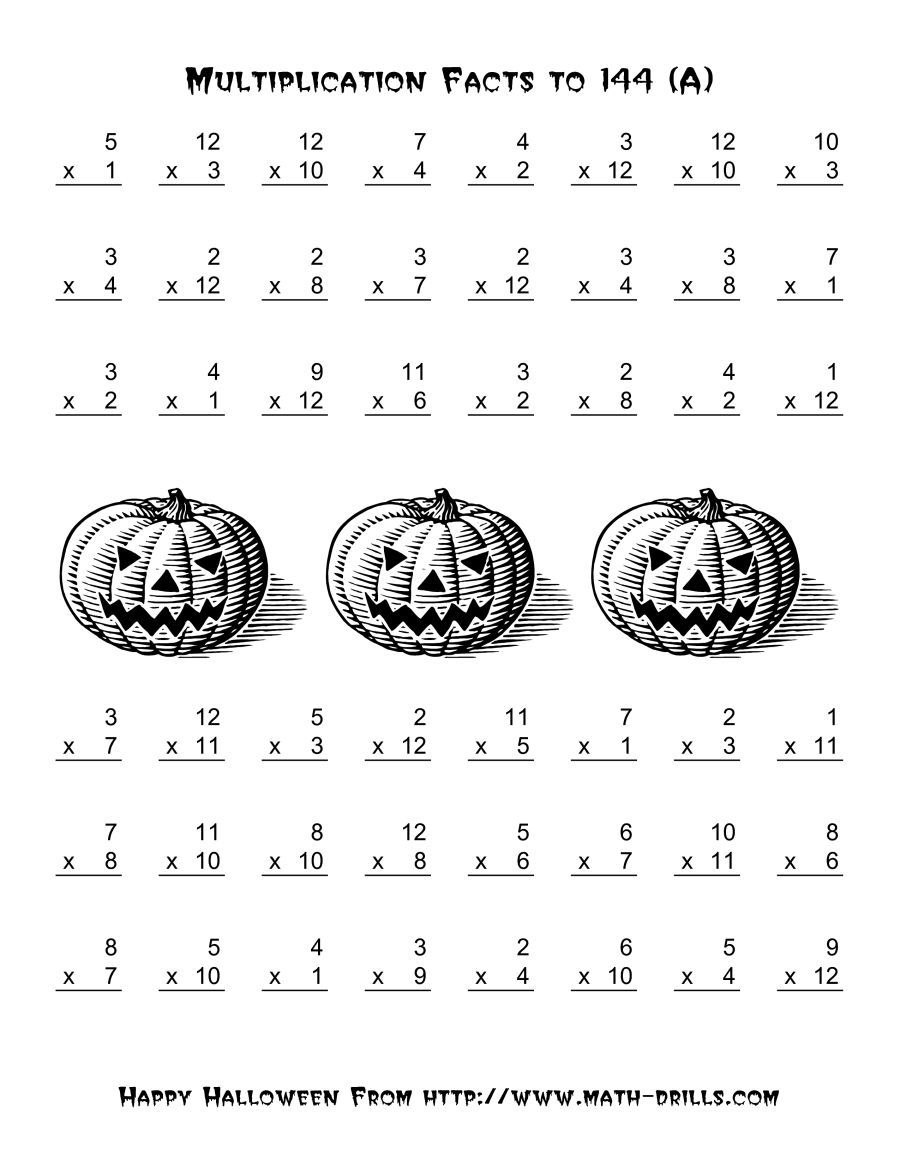 The All Operations Multiplication Facts To 144 A Math Worksheet From Th Halloween Math Worksheets Halloween Multiplication Worksheets Halloween Worksheets [ 1165 x 900 Pixel ]