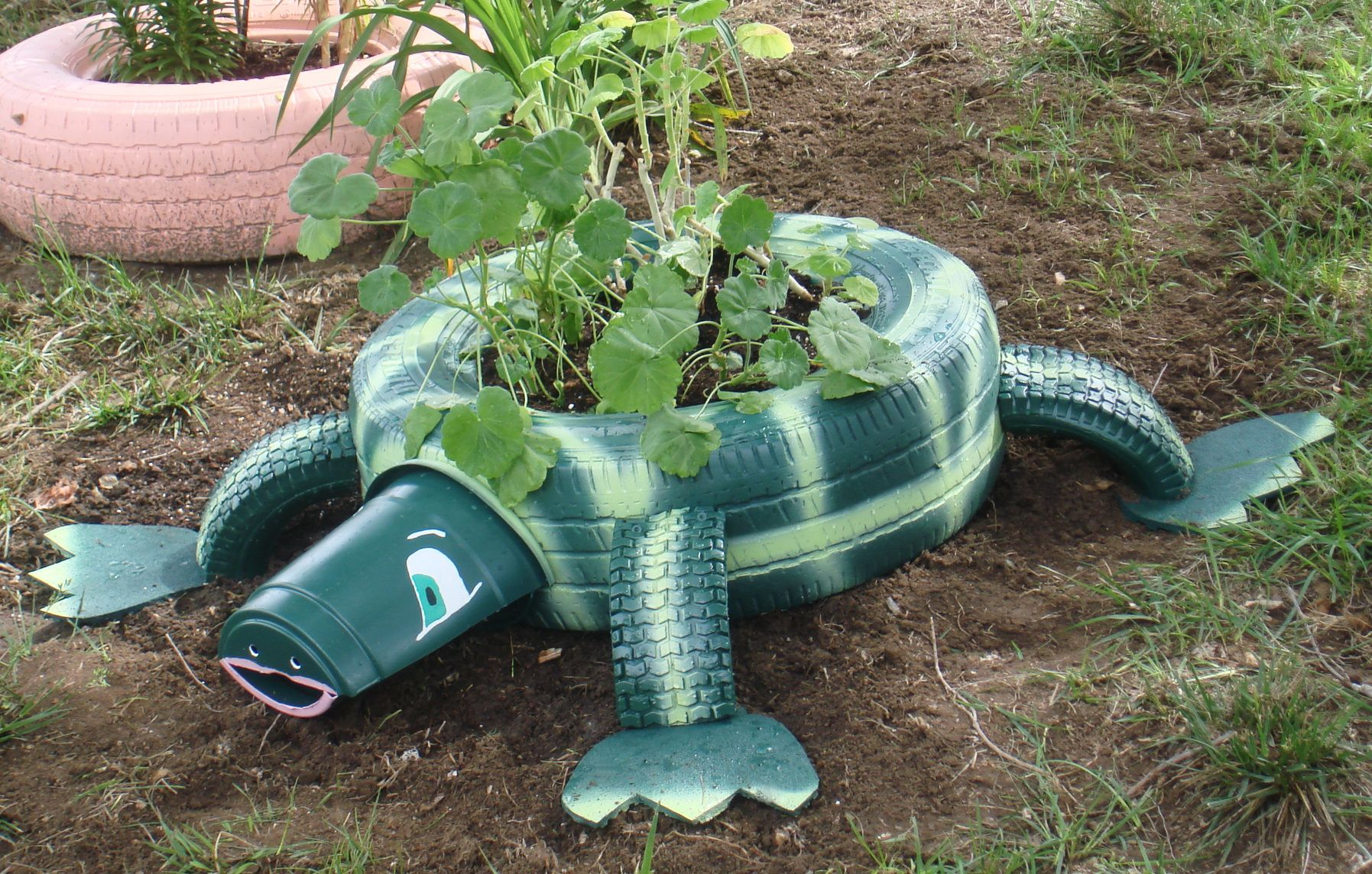 June 6 2014 Treadley The Turtle Made Of Car Tire Wheelbarrow