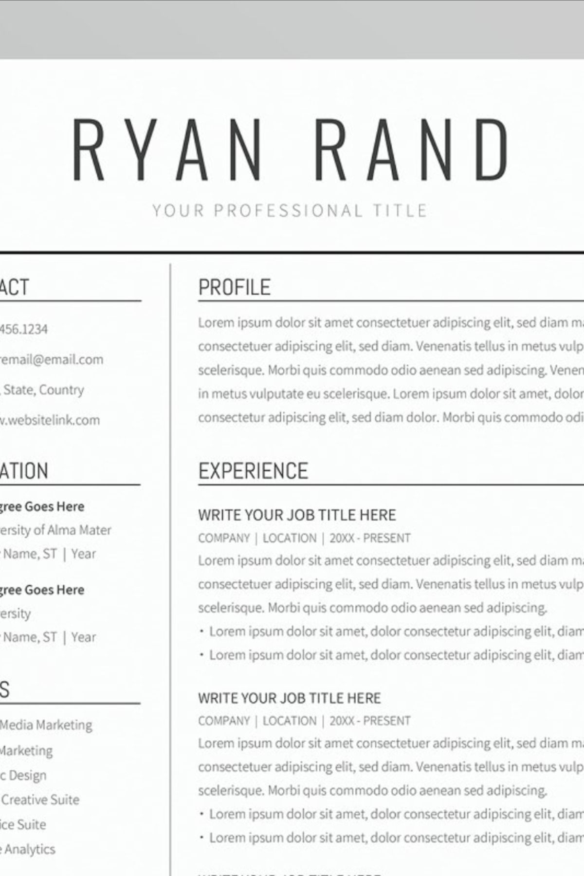 Google Docs Resume Template in 2020 Resume template, Cv