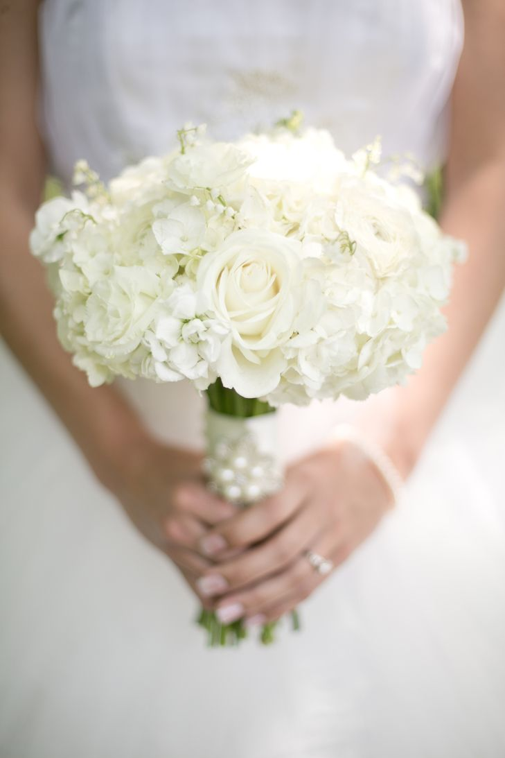 Classic White Hydrangea White Rose Wedding Bouquet White Rose Wedding Bouquet White Roses Wedding Bride Bouquets White