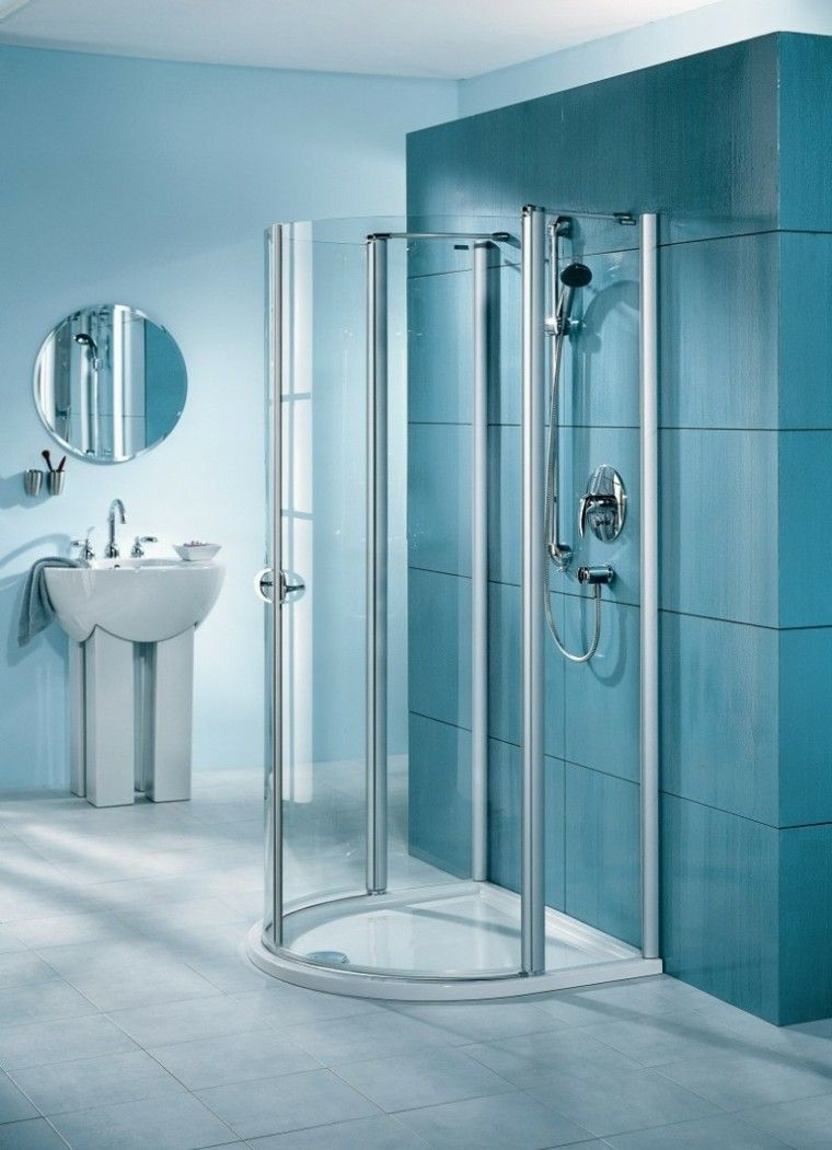 Ba o ducha azulejos grandes azules interiores para ba os for Azulejos grandes bano