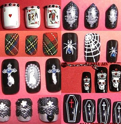 Gothic Lolita Nail Designs by Vampire of Rose - Gothic Lolita Nail Designs By Vampire Of Rose Goth Nails, Pale