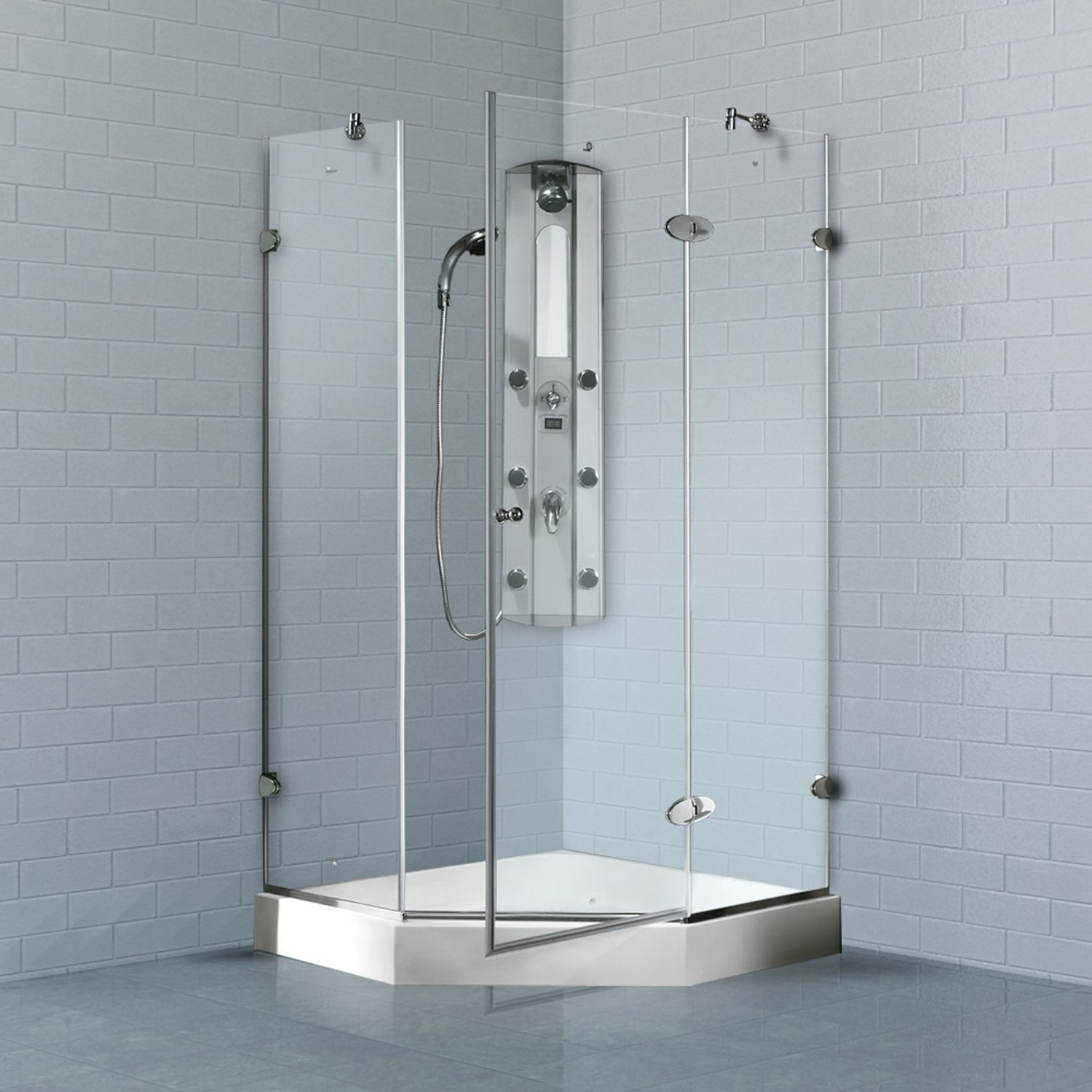 Vigo Frameless Self-Closing Neo-Angle 3/8-Inch Clear Shower ...