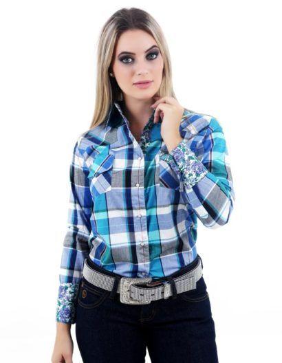 099fa6a35 camisa xadrez country com calça jeans feminina