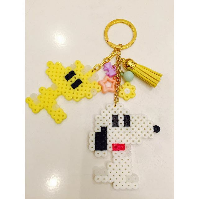 Snoopy keychain perler beads by handmade_shop111