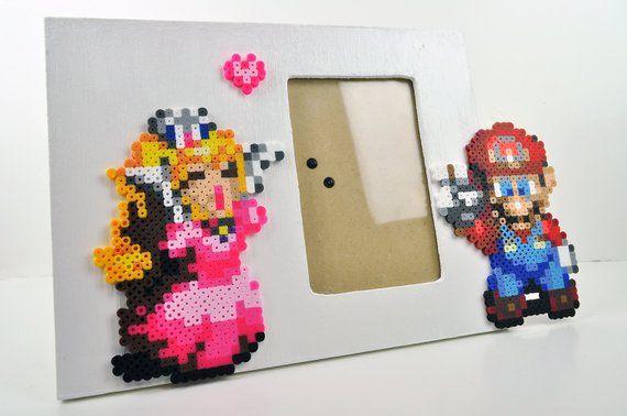 Super Mario and Peach Nintendo Picture Frame Perler Bead