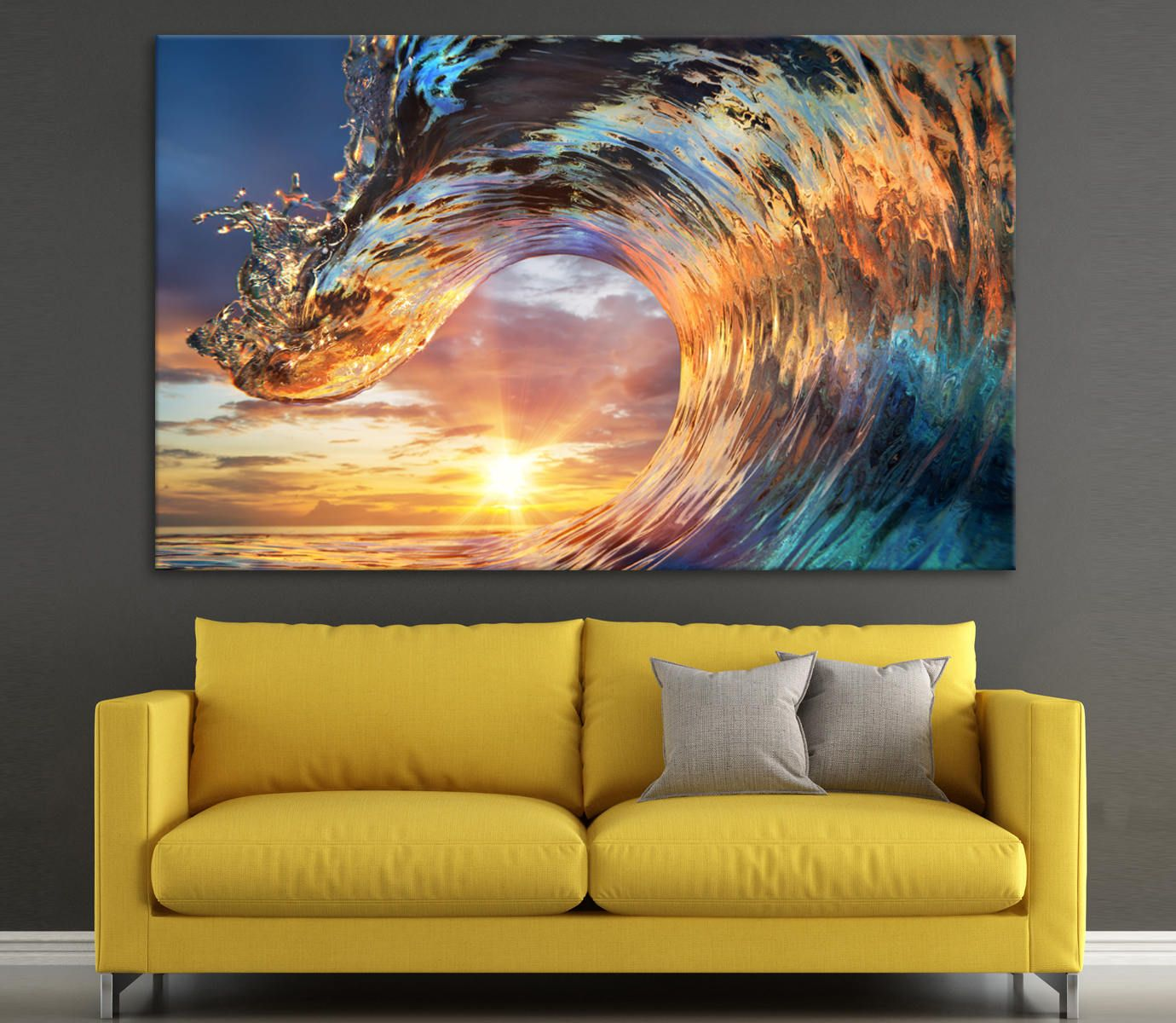Canvas print Colorful Ocean Wave wall art canvas photo on Sunset art ...
