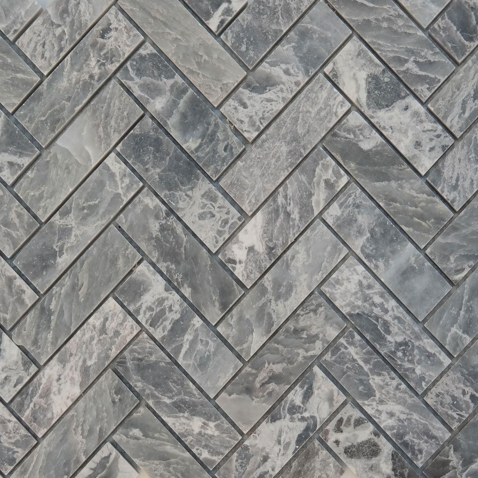 Herringbone Mosaic Tile White Grey Marble Polished Herringbone Mosaic Tile Marble Polishing Tile Floor