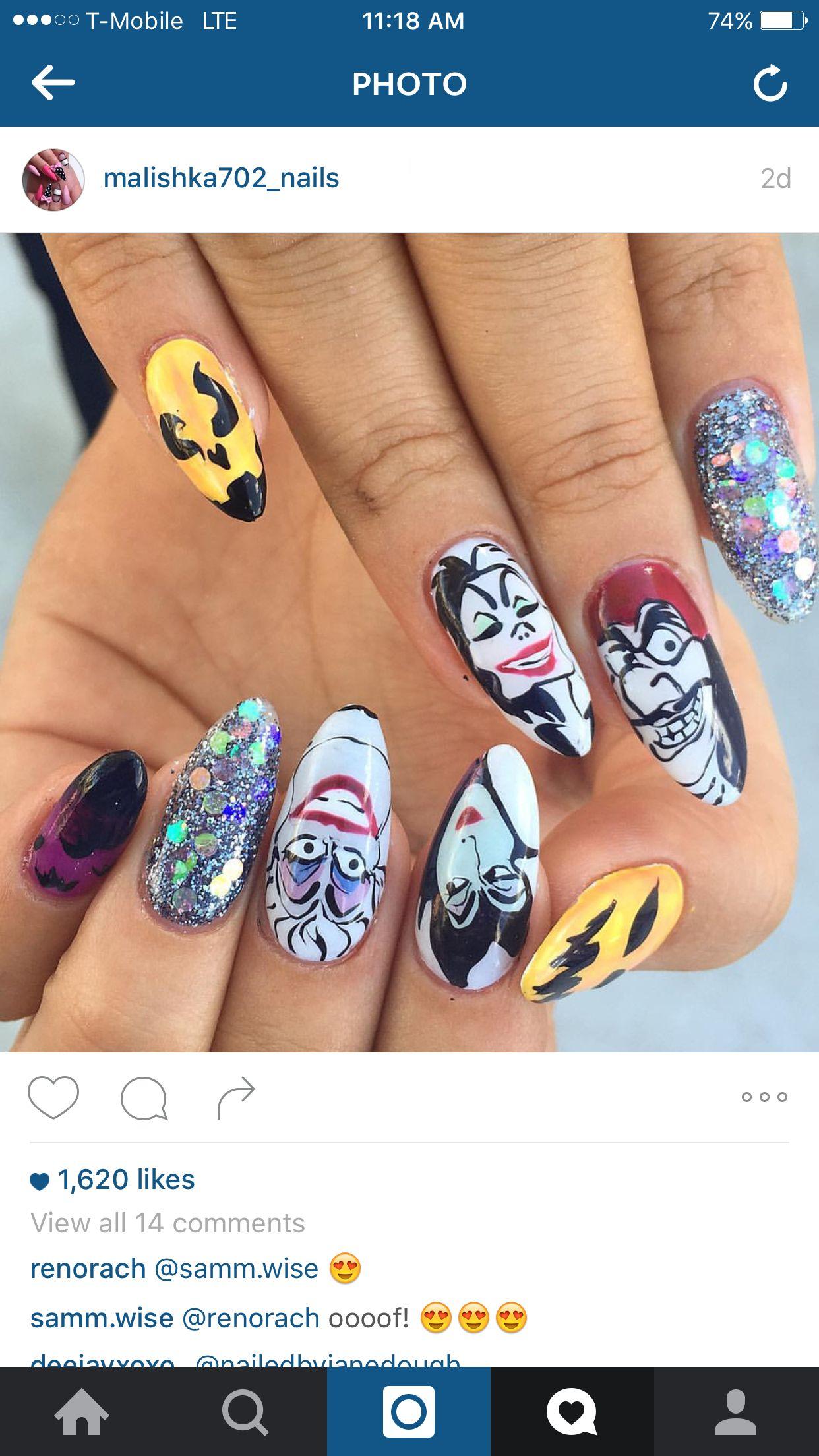 Disney villains nails #halloweenNails #halloween #nailArt ...