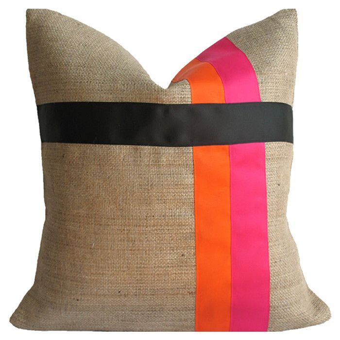 Cora Pillow // so simple + geometric :: yet bold + eyecatching #orange #pink