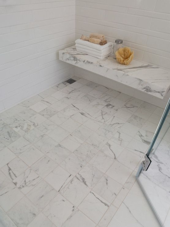 Contemporary Shower Features Floating Marble Shower Bench Over