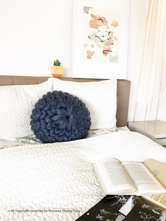 Gray Round Chunky Knit Pillow Wool Knit Pillow Merino Wool | Etsy