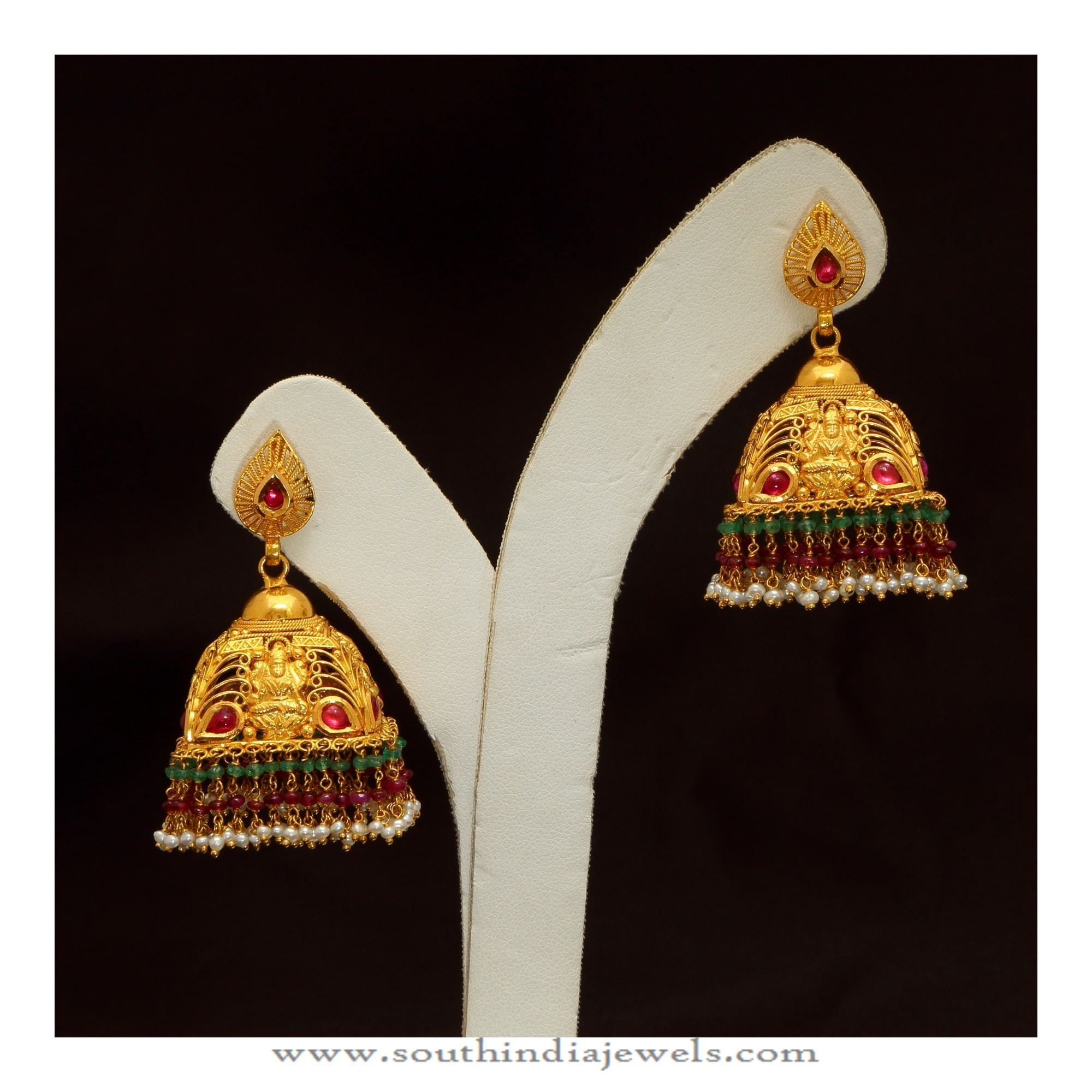 35 Grams Gold Antique Jhumka | Indian gold jewelry, Gold jewellery ...