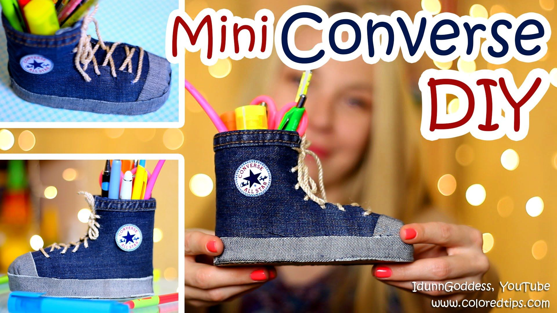 DIY Mini Converse Shoes Pen Holders Out Of An Old Jeans and Plastic Bott...