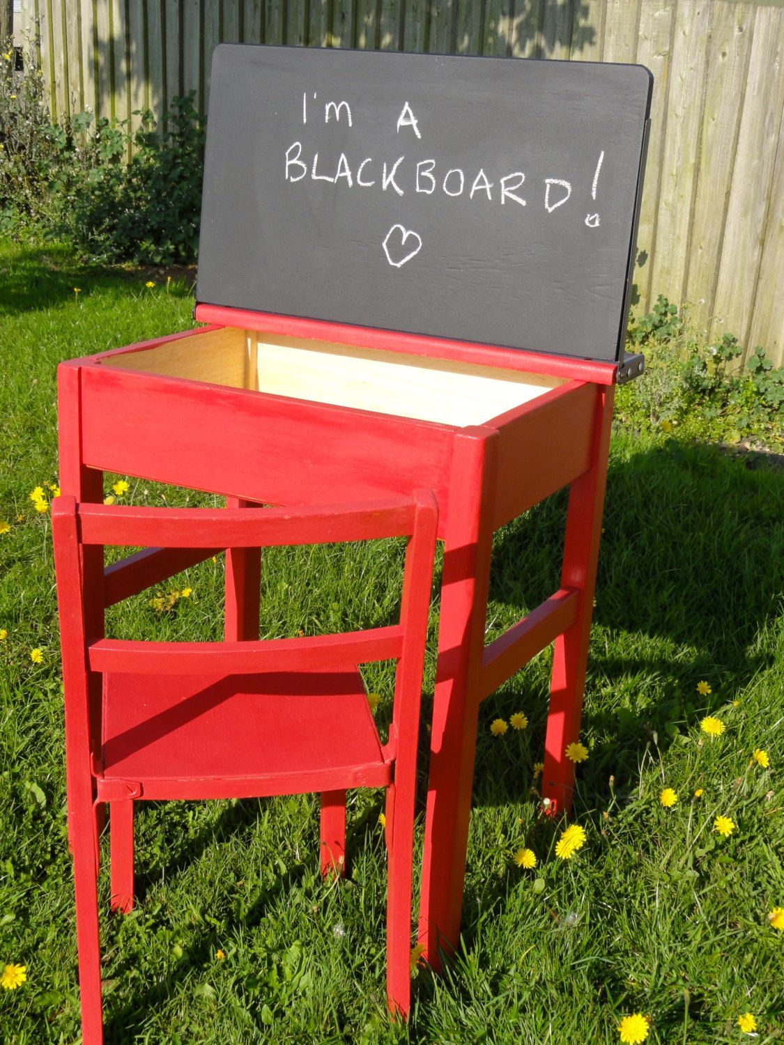Upcycled Hand Painted Vintage 1960s Child S School Desk