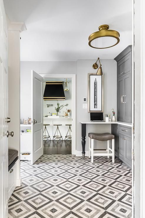 Clad In Gray Diamond Pattern Floor Tiles This Black And Gray