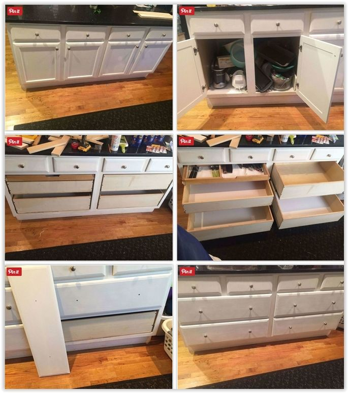 Convert Messy Kitchen Cabinets Into Useful Drawers A How To Guide Small Bathroom Makeover Diy Kitchen Cabinets Kitchen Cabinet Drawers