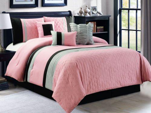 7 Pc Leaves Embossed Pleated Ruffled Comforter Set Pink Black