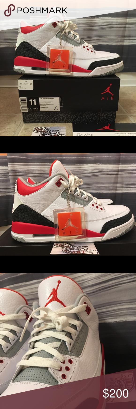 new arrival ede75 3ed38 Nike Air Jordan Retro 3 III Fire Red Mens Size 11 Brand - Jordan Style - Retro  3 Color - Fire Red Size - 11 Condition - VNDS. Only worn 1 time!!
