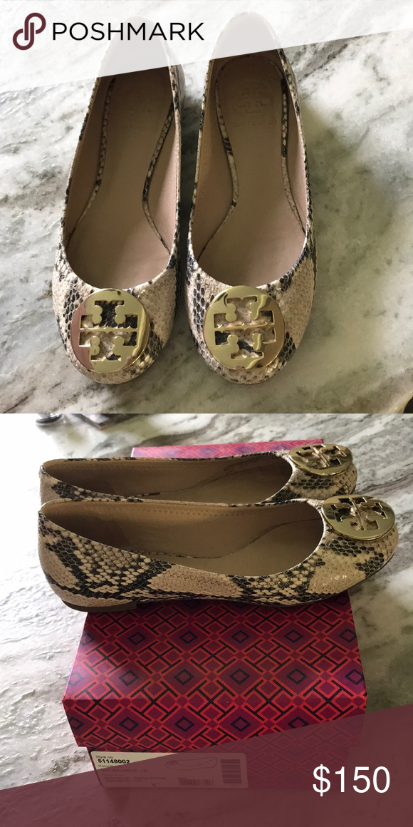 """d89746020c26 Tory Burch reva ballet flat - tan snakeskin """"Roccia python"""" with gold  emblem. Excellent used condition. With original box and duster bag Tory  Burch Shoes ..."""