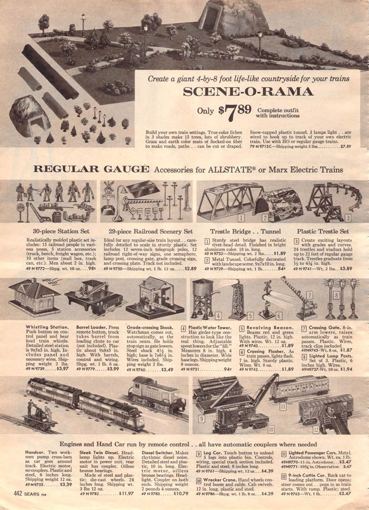1962 Sears Christmas Book Page 442 Christmas Train Model Trains