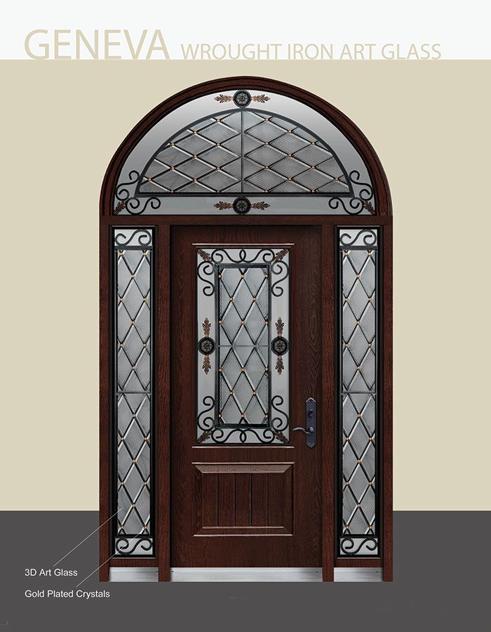 Geneva Design Iron Art And Stained Glass Fiberglass Door With 2 Side