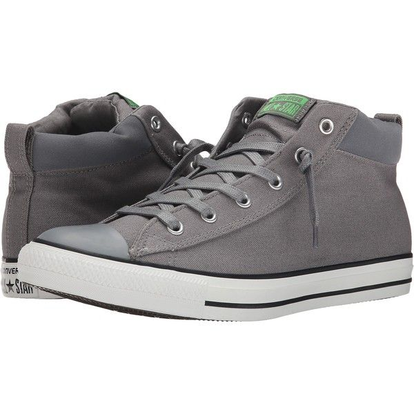 Converse Chuck Taylor All Star Street Mid Shoes, Gray ($51) ❤ liked on