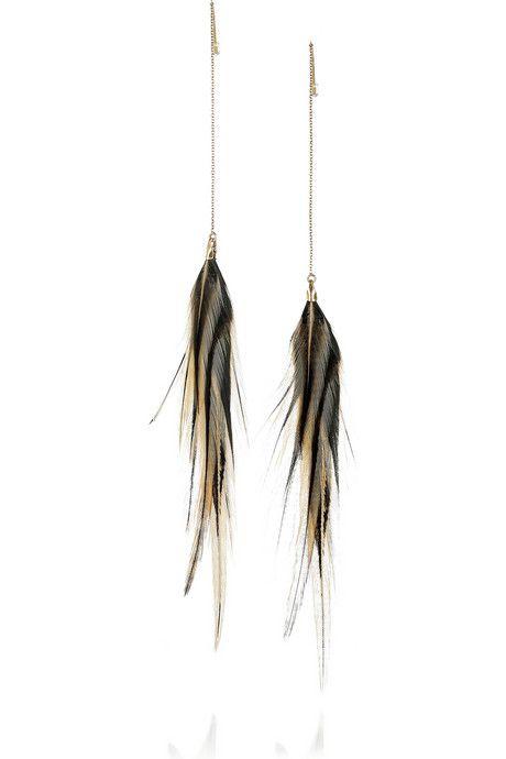 Jeeyun Ha Designs Ganiji 14 Karat Gold Feather Earrings