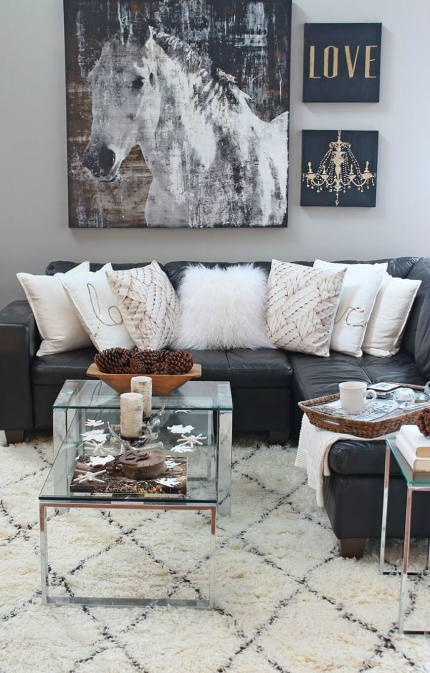 creative ideas to decorate above the sofa scale horse and walls