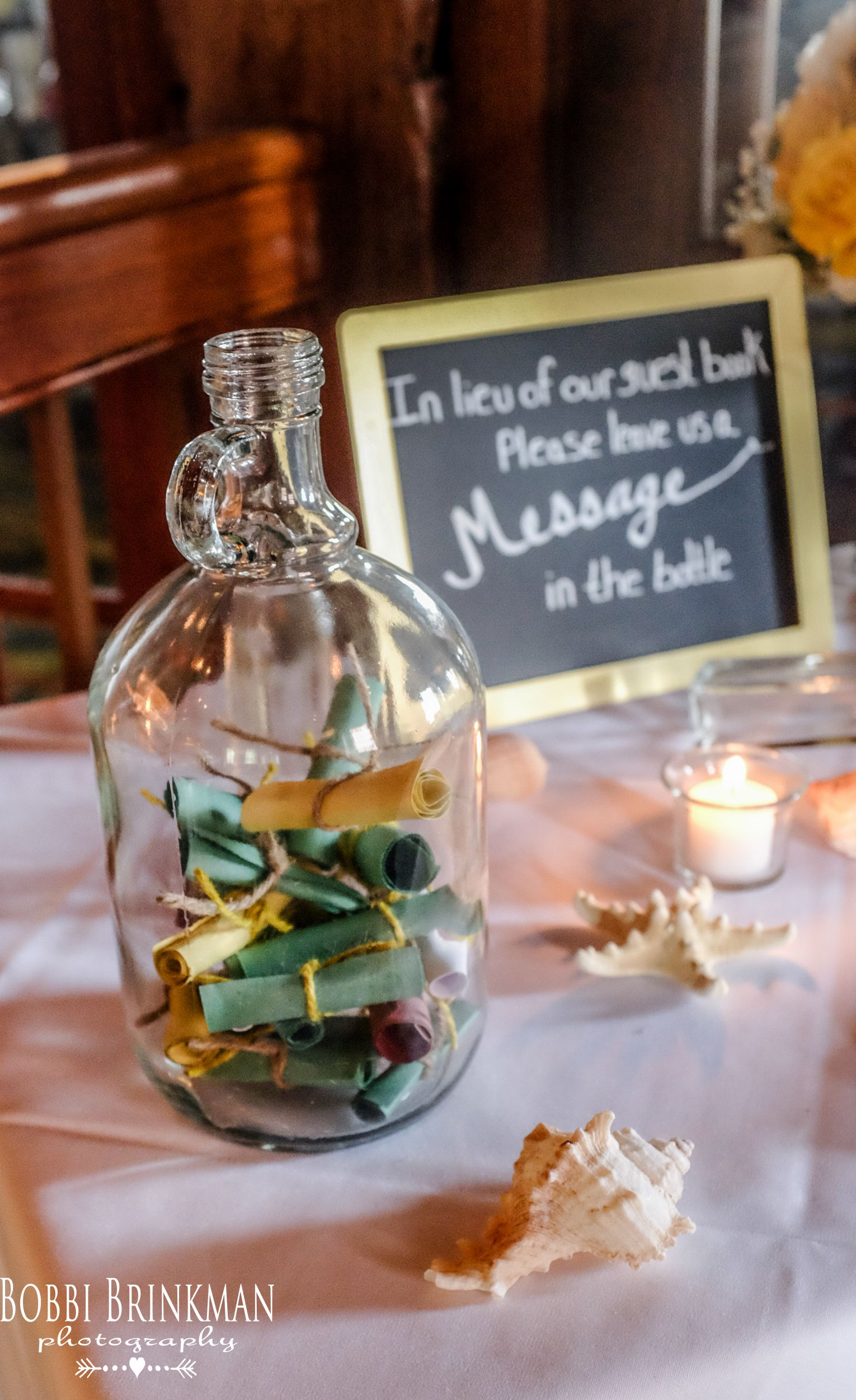 wedding guest book table, beach theme | wedding guest book
