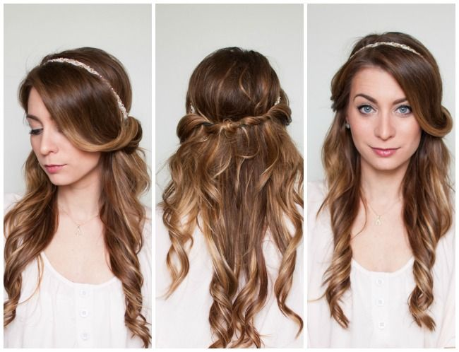 a quick and easy hair tutorial half up half down romantic hair