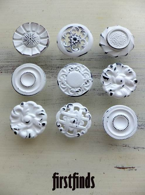 9 Misfit Shabby Chic Kitchen Cabinet Knobs Vintage Reclaimed Hardware Drawer Pulls Vintage White Cupboard Pull