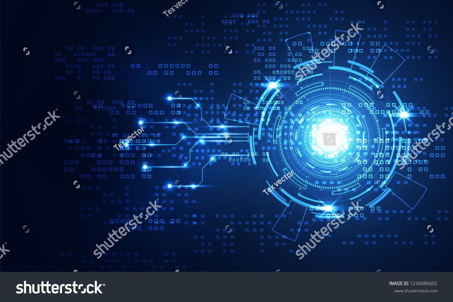 Modern Abstract Technology Concept Communication Circle Digital Circuits On Blue Background And Graphic Design Portfolio Examples Future Design Digital Circuit
