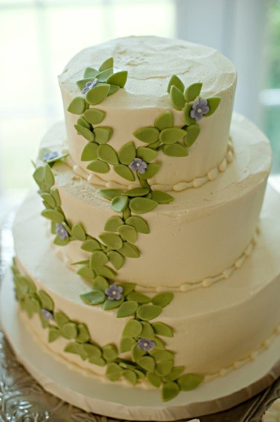 Leaves and tiny purple flowers cake by suzanne | Cake ...