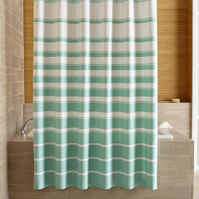 Hampton Stripe Seafoam Shower Curtain Crate And Barrel With
