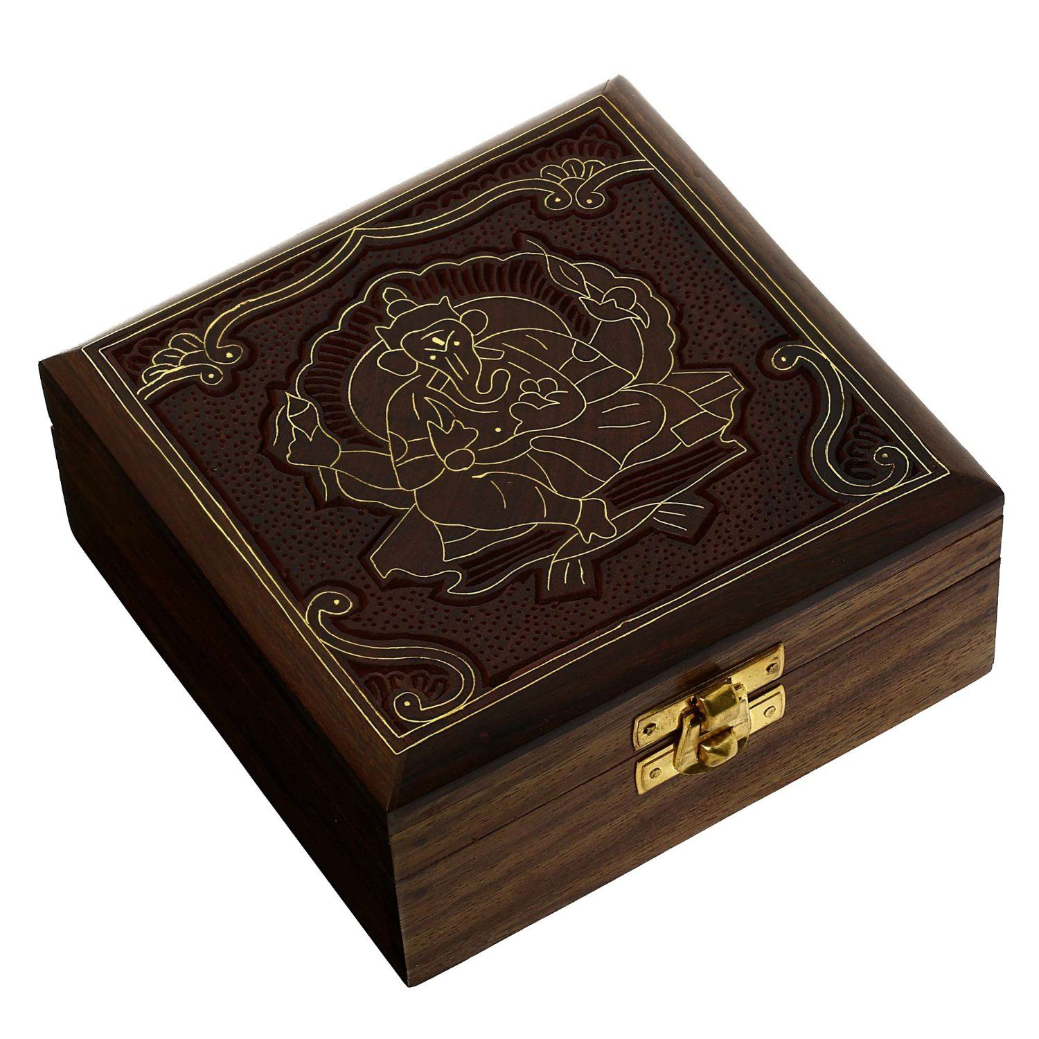 Wooden Jewellery Box with Lord Ganesha Handcarved Design ...