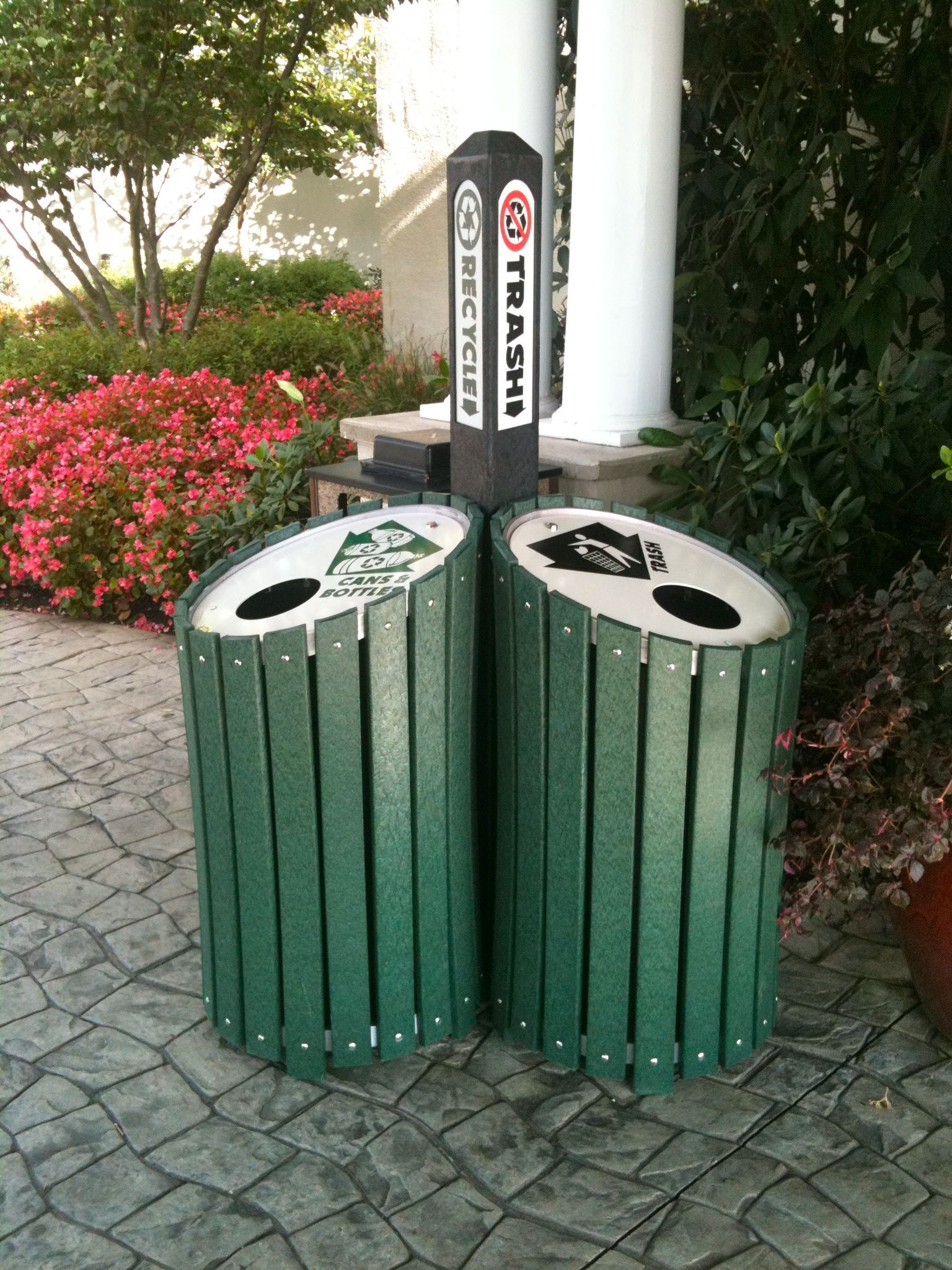 Clusters Recycling Bins Made From Recycled Plastic Hdpe Lumber And Recycled Aluminum Garbage Can Recycling Trash Bins