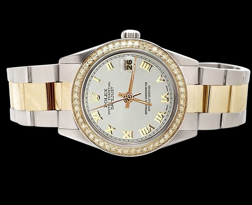 Perpetual date just oyster ss u gold white roman dial rolex watch