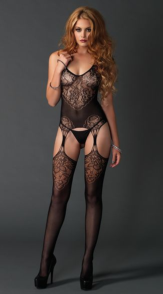 1454e3baf1 Look sexy from head to toe in this black bodystocking featuring a halter  top