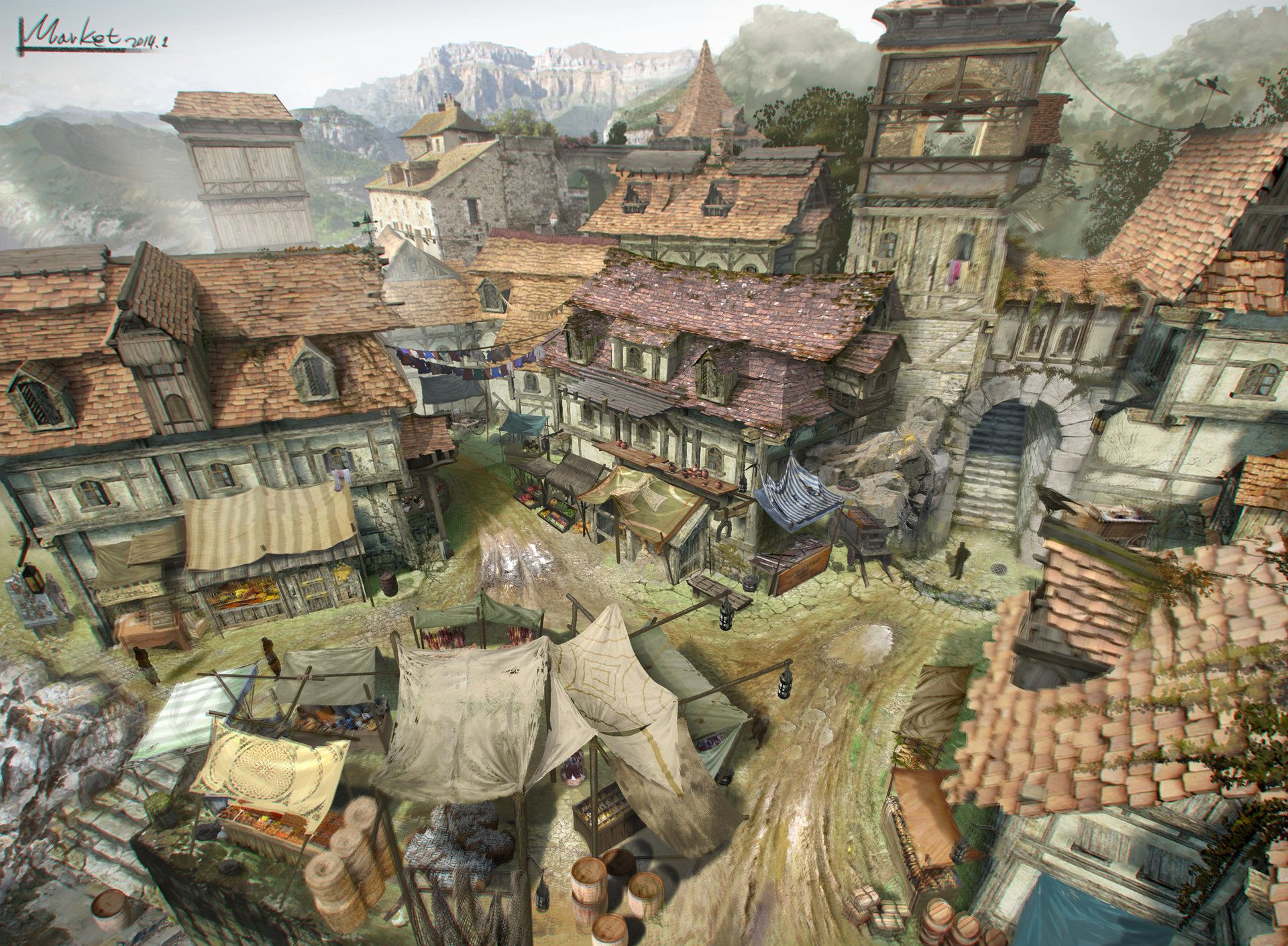 ArtStation - small town_market, HyunHo Park | Concept Art in