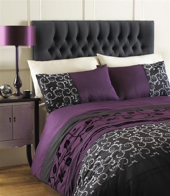 AUBERGINE PLUM / BLACK GREY DOUBLE DUVET QUILT COVER BED