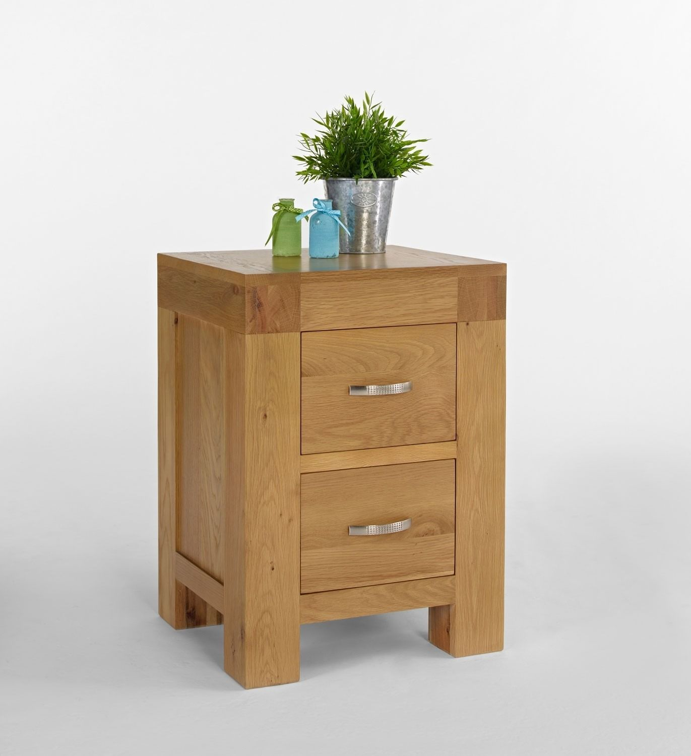 Bonsoni Satina Blonde Oak Bedside Cabinet Crafted Using North American And Carefully Selected Veneers