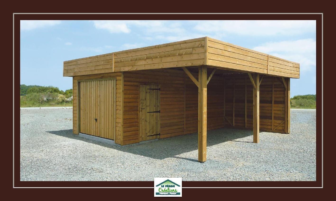 Double Carport Avec Garage Ferme Et Preau Ouvert Bardage Exterieur Maison Garage Ouvert Abri De Jardin