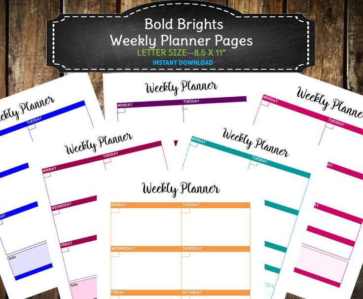 6 Bold Bright PRINTABLE Weekly Blank Planner Pages / Printable