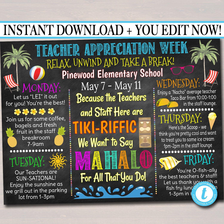 Editable Teacher Appreciation Week Flyer Instant Download Etsy In 2021 Teacher Appreciation Week Teacher Appreciation Teacher
